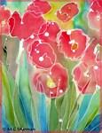 poppies, red flower, art,
