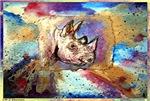 Wildlife, rhino, art,