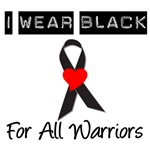 I Wear Black Ribbon For All Warriors T-Shirts