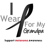 Melanoma I Wear Black Ribbon For Grandpa Shirts