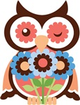 Colorful Flirting Wise Old Owl & Flowers