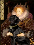 QUEEN ELIZABETH I<br>& Black Labrador Retriever