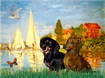 BASSIN AT ARGENTEUIL<br>& Dachshund Pair
