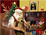 SANTA AT HOME<br>With 2 Airedales