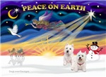 CHRISTMAS SUNRISE<br>& 2 West Highland Terriers
