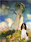 LADY WITH UMBRELLA<br>& English Spaniel (liver)