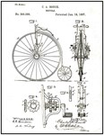 Bicycle Patent paper Print 1887