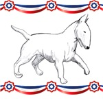 Bull terrier with USA bunting