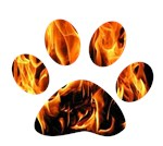 Pawprint on fire