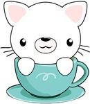 Kawaii white kitty in Teacup