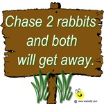 Chase 2 rabbits and both will get away.
