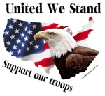 United We Stand Support our troops Crying Eagle