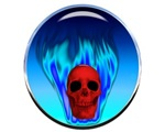 Steel Skull Blue Flames