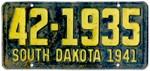 1941 South Dakota License Plate