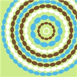 Mod Blue and Brown Beaded Circles