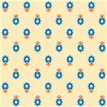 Blue and Orange Mod Fleur Paisley