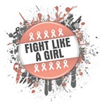 Fight Like a Girl Uterine Cancer Splatter Shirts