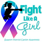 Thyroid Cancer Fight Like A Girl Knockout Shirts