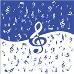 Mariner Blue Musical Notes Pattern