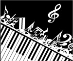 Stylish music notes and piano keys