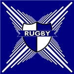 Rugby Shield Blue White Stripes