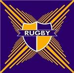 Rugby Crest Purple Gold Stripe