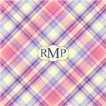 Pink Sunrise Plaid Monogram