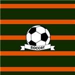 Soccer Ball Banner Green Orange Stripes