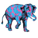 Pink and Blue Paisley Elephant