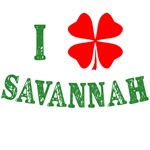 I Love Savannah with Red Shamrock