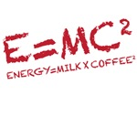 e=mc2 - energy=milk x coffee2