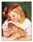 VINTAGE CAT ART: GIRL HOLDING CAT