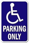 Handicap Insignia - Parking Only - Sign without Te
