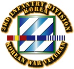 Army - 3rd ID w Korean War SVC Ribbons