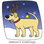 Christmas Yellow Lab Cartoon