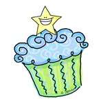 Cupcake with Star (blue)