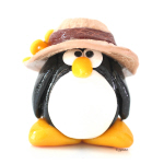 Sunflower Hat Clay Penguin