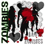 A hip, urban design featuring gothic lace, paper hearts, blood splatters, and zombies! Radioactive green accents and I love zombies text. Great gift for fans of the walking dead.