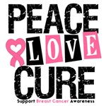 Breast Cancer Peace Love Cure Shirts & Gifts