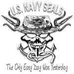 USN Navy Seal Skull Black and White