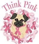 Adorable Pug Breast Cancer Awareness Ribbons