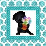 Black Pug with Flower Pot