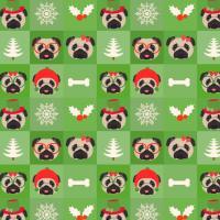 Christmas Pugs, Bones, Mistletoe