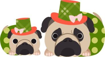 Pugs in Polka Dots and Hats