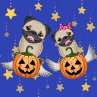 Halloween Pug and Pumpkins