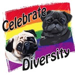Celebrate Diversity Rainbow Pugs