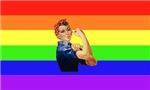 Rainbow Rosie Riveter T-Shirts & Gifts