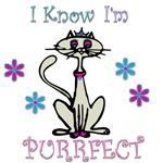 I know I'm purrfect cat shirts