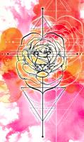 Geometric Rose Lion Watercolor