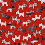 Red Plaid Puppy Dog Pattern